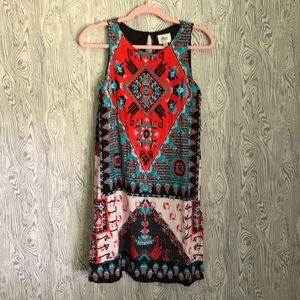 Vibrant Wide Strap Shift Dress ~ size Small
